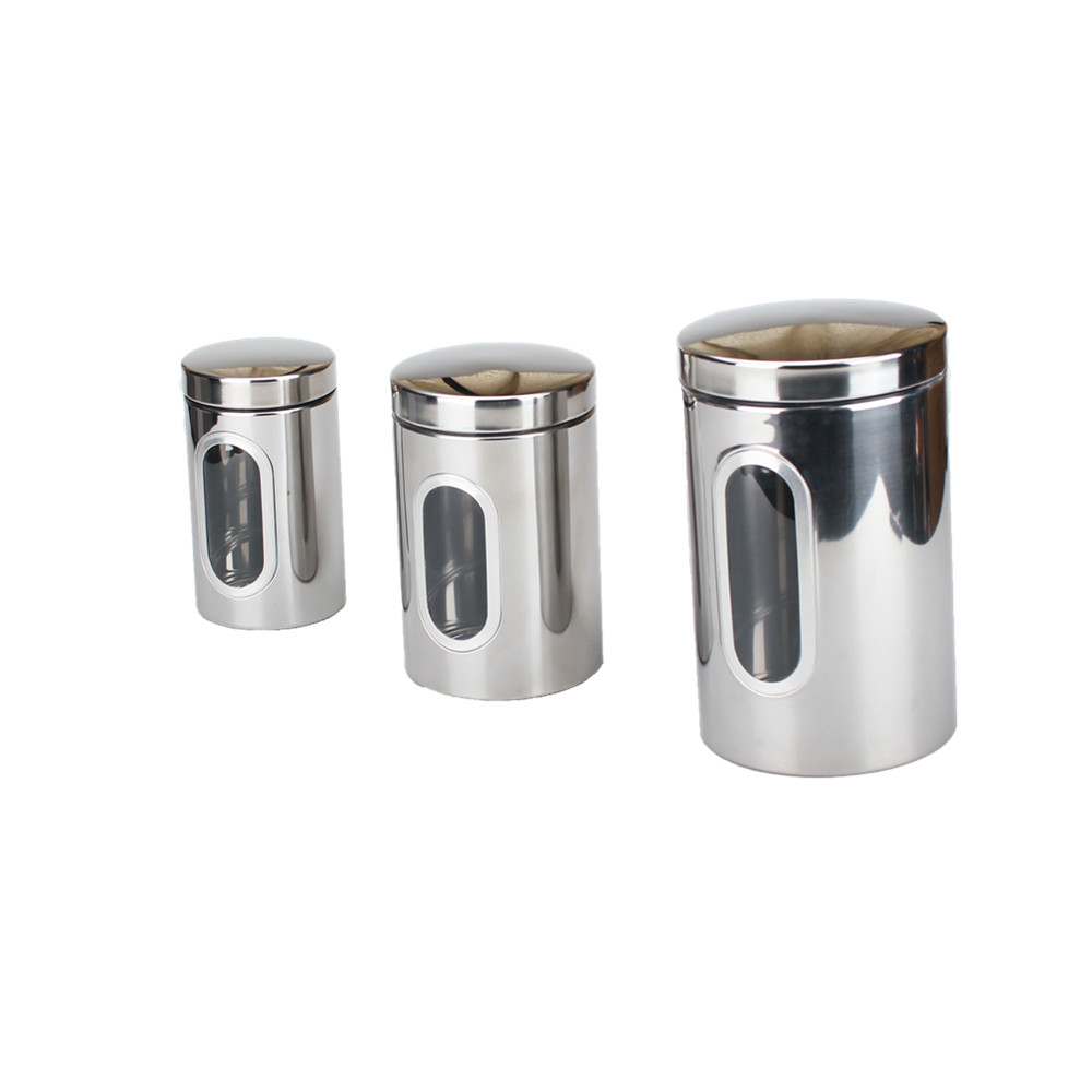 3 Piece Stainless Steel Canister Set