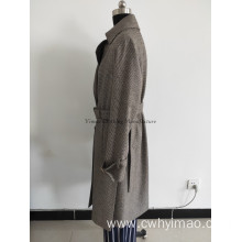 Long spring wool windcoat with belt