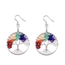 Tumbled Gemstone Tree of Life Dangle Earrings