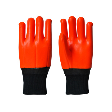 Fluorescent orange PVC coated gloves