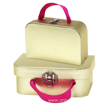 Golden Foil Paper Suitcase With Ribbon
