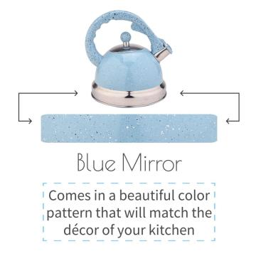 Sky Blue Mirror Stainless Steel Whistling Tea Kettle