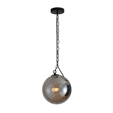 Black metal gray glass bubble ball pendant lamp