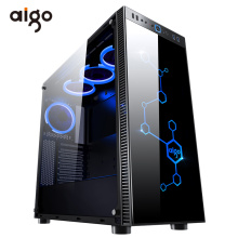 Aigo Desktop Computer Gaming Case Mid-Tower ATX Game PC Computer Chassis Case Tempered Glass Computer Cases CPU Cooling RGB Fan
