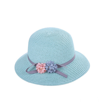 Summer beach kids straw hat with straw bag