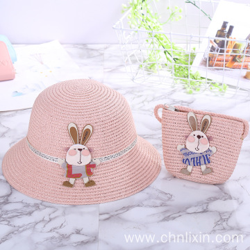 Summer beach straw hat set with straw bag