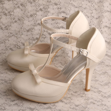 Bow Platform Off white Shoes for Women Wedding
