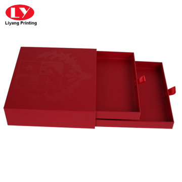 Red two layers of drawer cardboard box