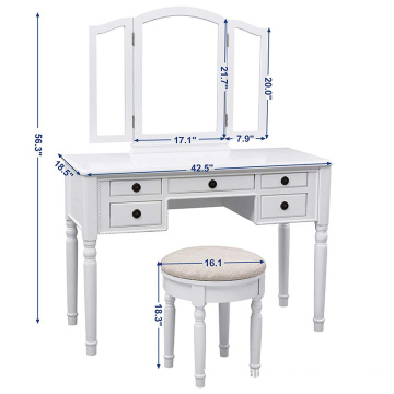 Vanity Table Makeup Dresser with Mirror Cushioned Stool 5 Drawers Dresser Makeup Table