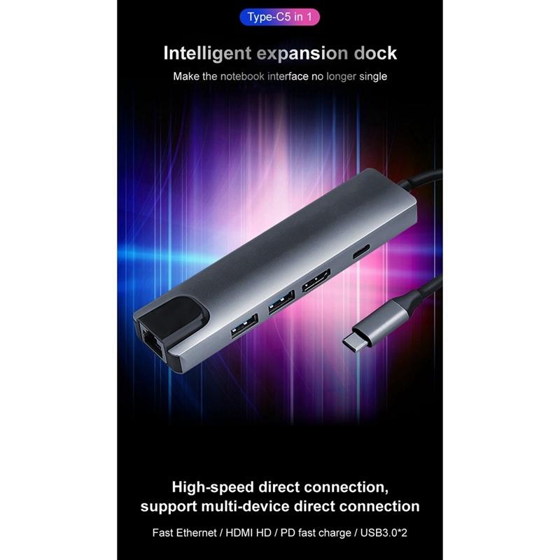 5 in 1 USB C HUB, Type-C to HDMI RJ45 USB PD Laptop Docking Station for PC Laptop