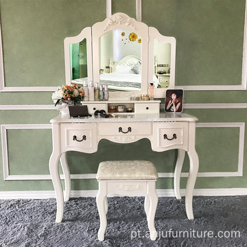 Vanity Set Tri-Folding Mirror Vanity Dressing Stool 5 Drawers Bedroom Makeup Vanity Table Set Ivory White