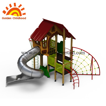 Outdoor playhouse for toddlers with slide