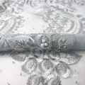 Grey Heavy Beaded Nigeria lace Fabric