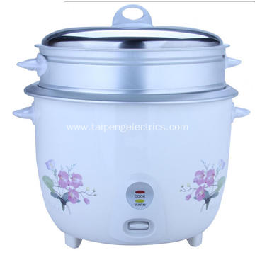 Drum type rice cooker with steamer