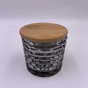 2020 Wholesale grey glass jar with wooden lid