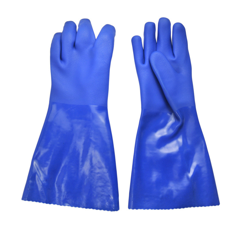 Blue flannelette lined with greaseproof gloves