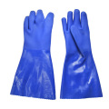 Blue sandy finish Flannelette lined gloves 35cm