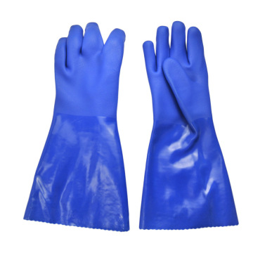 Blue heavy duty pvc chemical gloves