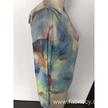 Tie-dye hooded button hoodie
