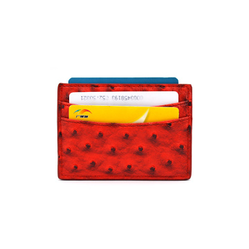 High-end Personalized Ostrich  Pattern Leather Card Holder