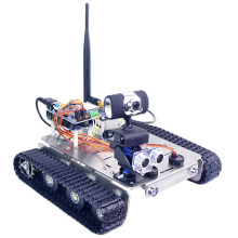 GFS WiFi Bluetooth Smart Robot Tank Car Kit Support Graphical Programming For Raspberry Pi4 2G Line Patrol Obstacle Avoidance