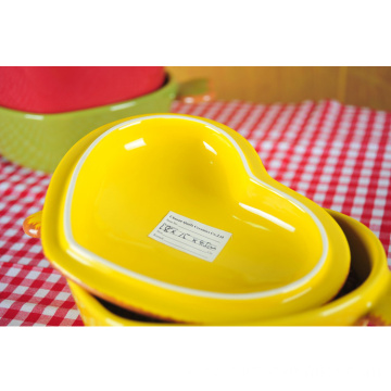 Heart Shaped Ceramic Casserole with Lid and Handle