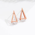 Rose gold cubic zirconia triangle stud earrings