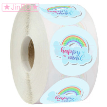 Paper Happy Mail Stickers 1'' 500pcs Round Adhesive Sticker for Business, Envelopes, Xmas Postcards,Mailing Packaging Labels