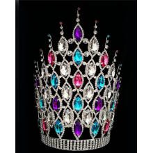 "12"" Colored Chunky Rhinestone Crowns For Party"