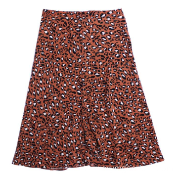 Ladies viscose lepard print skirt