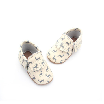 Blue Deer Pattern Moccasins Soft Baby Shoes