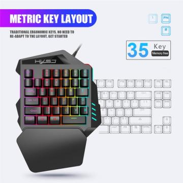 Left Hand Keyboard Single Hand Keyboard Mechanical Handle Feel 1.6m Wired Game Keyboard For Mobile Tablet Laptop PUBG Game