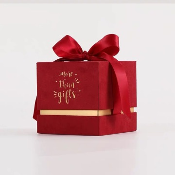 Red Wedding Paper Box With Ribbon