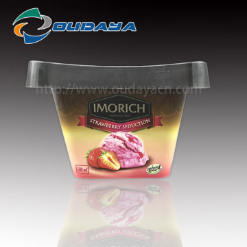 500ml Square PP IML Ice Cream with Lid