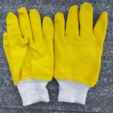 Yellow latex cotton linning gloves knit wrist
