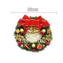 Christmas Garland Arrangement Ornament Wreath Decorative Wreath 30CM Bow Bell Christmas New Year Festival Decoration