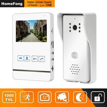 HomeFong 4 Inch Video Intercom for Home Wired Video Door Phone Works with Lock Access Control 1200TVL Motion Detection Recoding