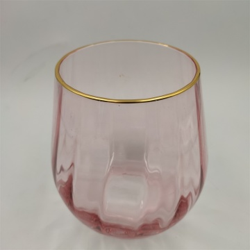 Gold Rim And Pink Color Glass Vase Flowers