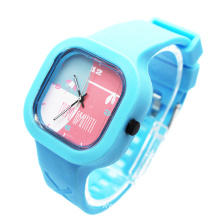 Square Silicone Quartz Watch Kids Colorful Jelly
