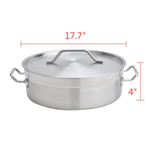 17Quart Heavy Duty Stainless Steel Braiser With Lid