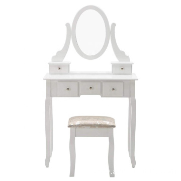 Furniture Makeup Vanity Table White Dressing Table and Stool