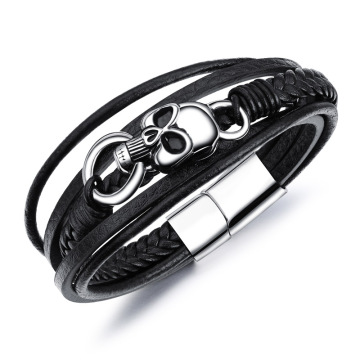 Black leather stainless steel skull bracelet