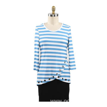 Ladies Printed Strips Rayon T-shirt