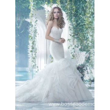 White mopping wedding dress