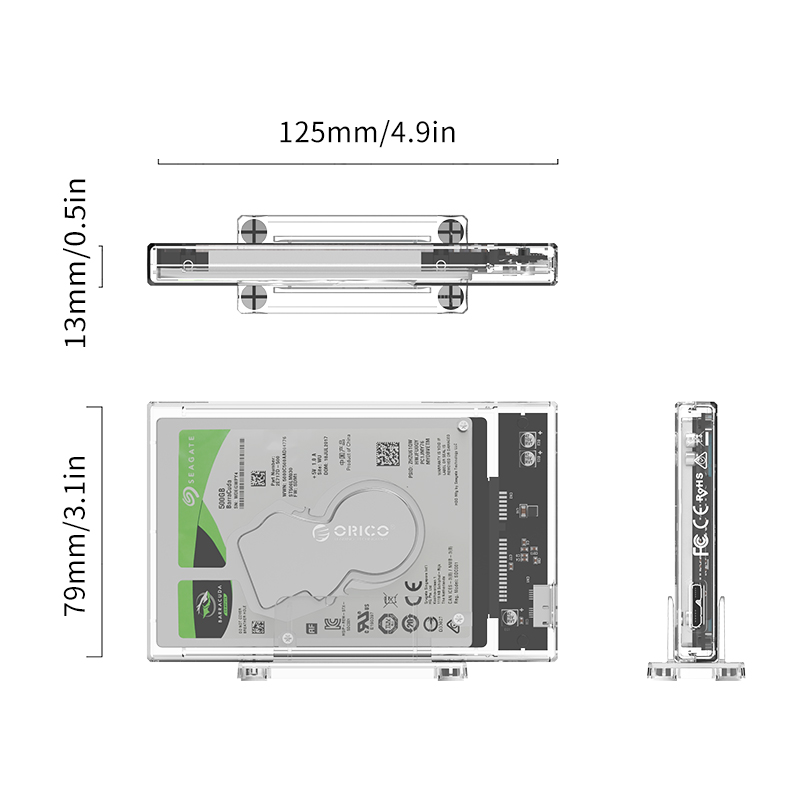 ORICO 2.5 inch Transparent Hard Drive Enclosure with Stand USB 3.0 Cable HDD Case USB C Hard Drive Case Support 10Gbps UASP 4TB