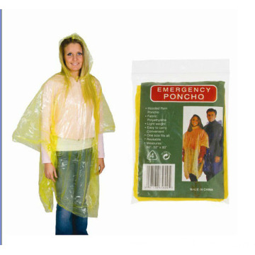 Disposable Adult Plastic Poncho Raincoat