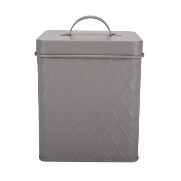 White Grey Metal Can with Lid