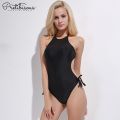Womens high neck black one piece swimsuit