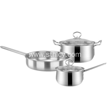 Stainless Steel Pot Set with Three-piece Gift Set