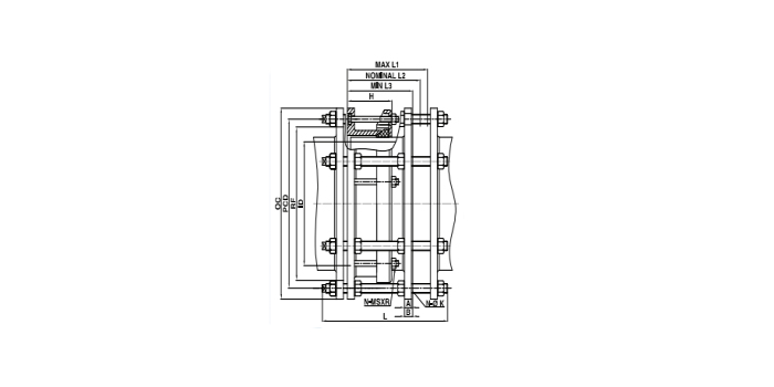 double flanged dismantling joint drawing